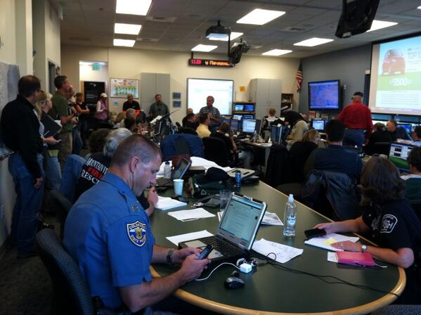 Caption: from @boulderpolice. Briefing at Emergency Operations Center this morning.