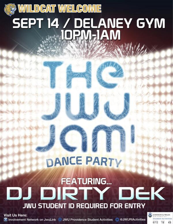 JWU Jam is tomorrow, featuring @DEKARATOR! Come check it out in Delaney Gym from 10pm-1am! http://twitter.com/JWURIACTIVITIES/status/378607164538896384/photo/1