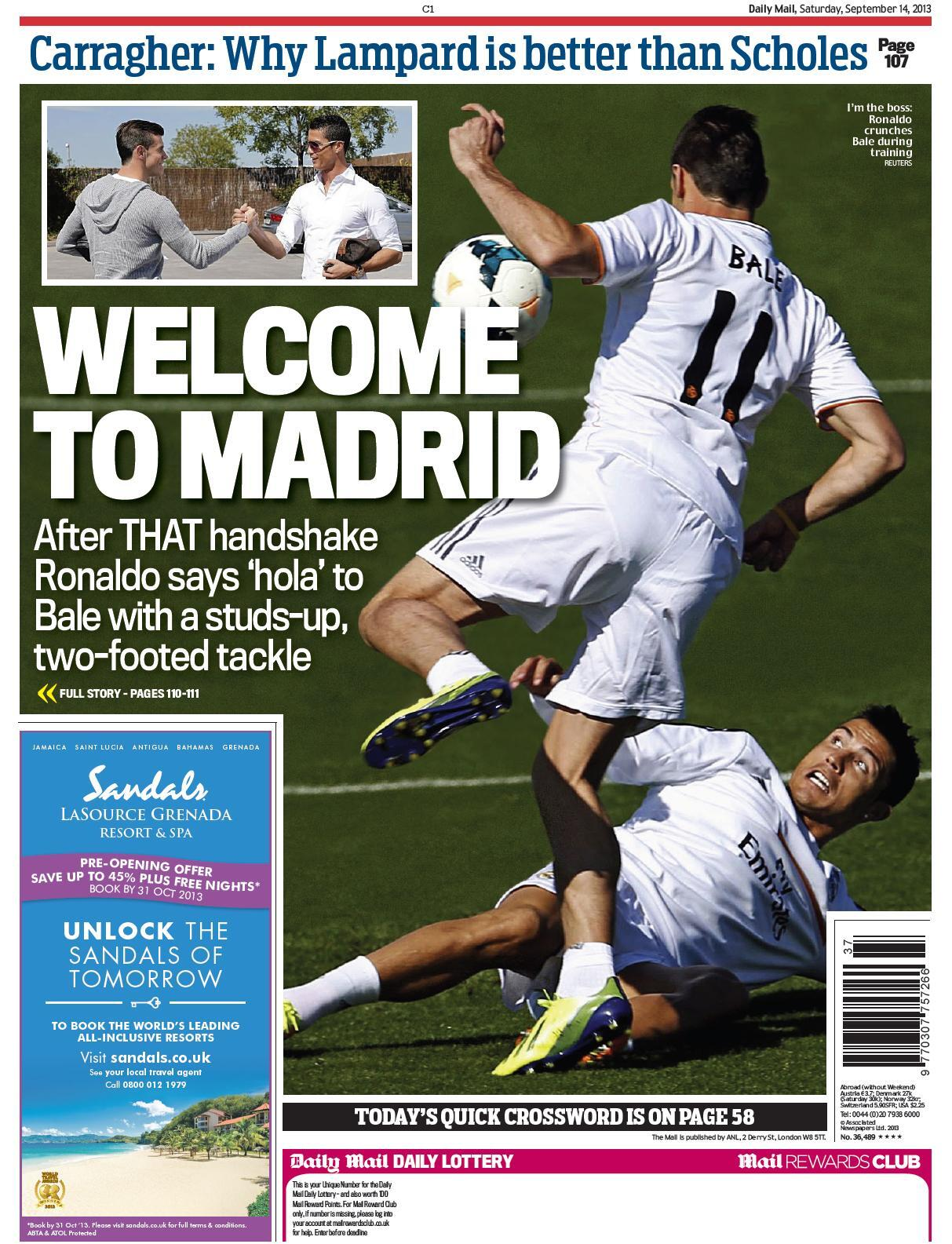 Saturdays Daily Mail: Picture of Bale/Ronaldo tackle, Welcome To Madrid