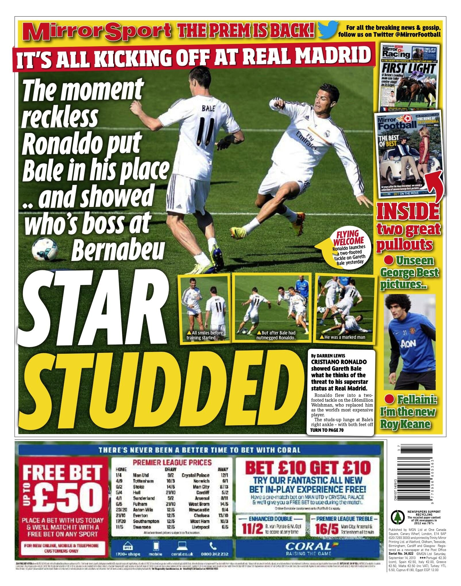 Saturdays Mirror Sport: Star Studded, Ronaldo put Bale in his place