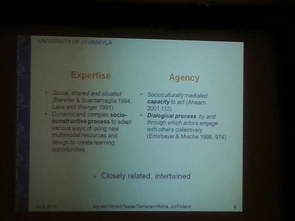 Expertise & agency development in teacher education #Eurocall http://twitter.com/jauregi/status/378807612470349824/photo/1