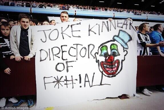 Newcastle banner at Villa Park: Joke Kinnear, Director of F All