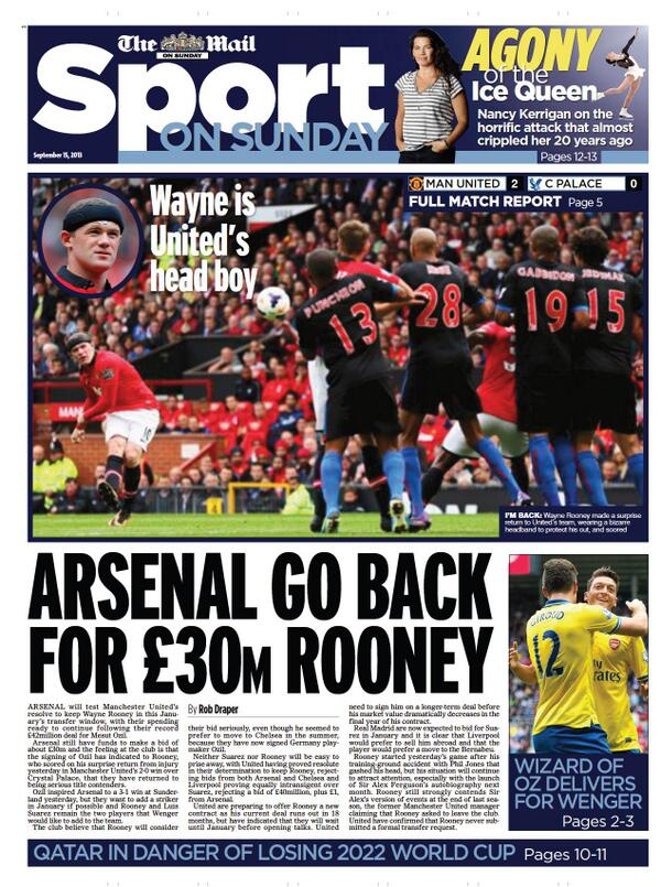 Arsenal plot bids for Man Uniteds Wayne Rooney & Liverpools Luis Suarez in January [Mail on Sunday]