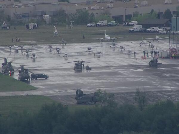 From AIRTRACKER7 earlier this morning: Search and rescue crews and their choppers #coflood http://twitter.com/DenverChannel/status/379290437090963458/photo/1