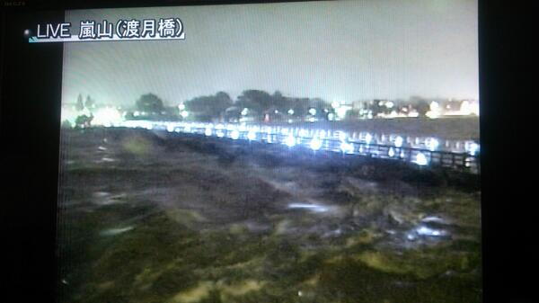 KBS京都で嵐山(渡月橋)のライブ画像を放送していますが、川が濁流になっています。渡月橋大丈夫か?