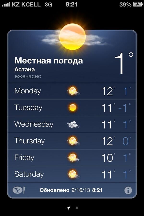 Погода в астане на неделю, на 10 дней или на месяц показывает тенденцию изменения погоды на протяжении нескольких дней.