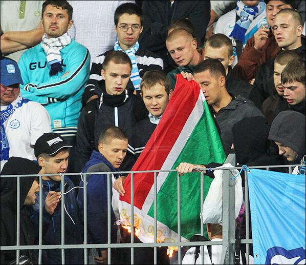 12 Zenit fans arrested for burning the flag of the Checyna Republic