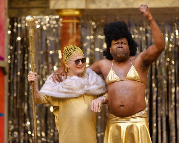 Bette Bourne as Teirisias and Geoff Aymer as Cadmus are rocking gold in #LightningChild (c)Simon Kane. http://twitter.com/The_Globe/status/379597639706112000/photo/1