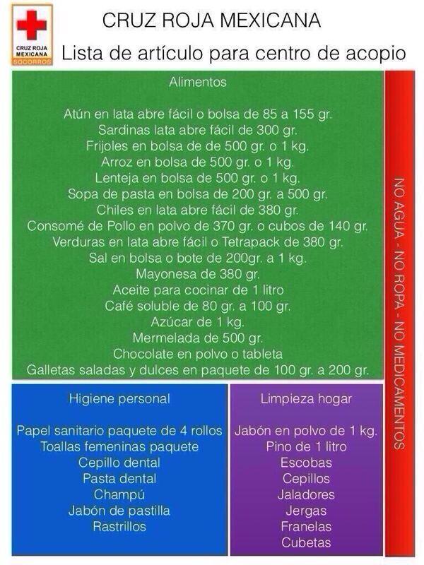 Número de cuenta Bancomer 0404040406 donativos @CruzRoja_MX Lista de artículos para centro de acopio http://twitter.com/PcSegob/status/379688823271481344/photo/1