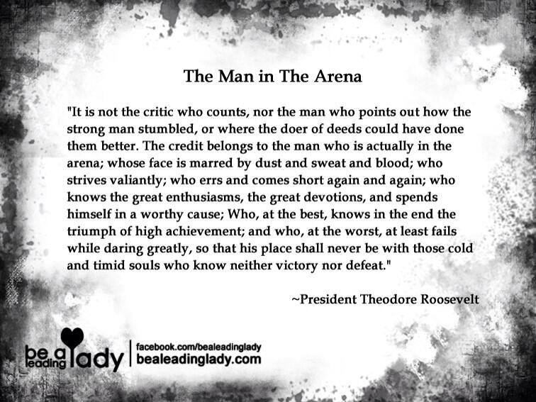 image about The Man in the Arena Printable titled Lyle Krause upon Twitter: \
