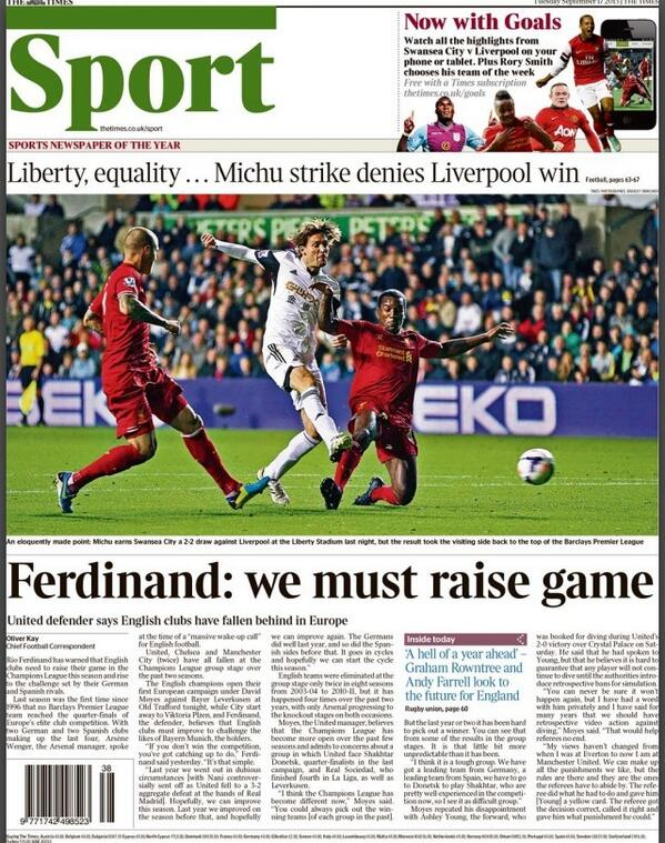 Tuesdays Times back page: Rio Ferdinand, we must raise game