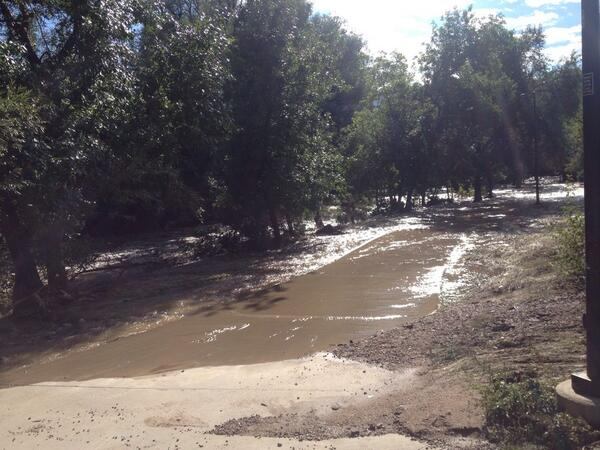 Had to march through wetlands to get to class....all the bridges are messed up. Four days later #boulderflood http://twitter.com/chillducey/status/379727365519470593/photo/1