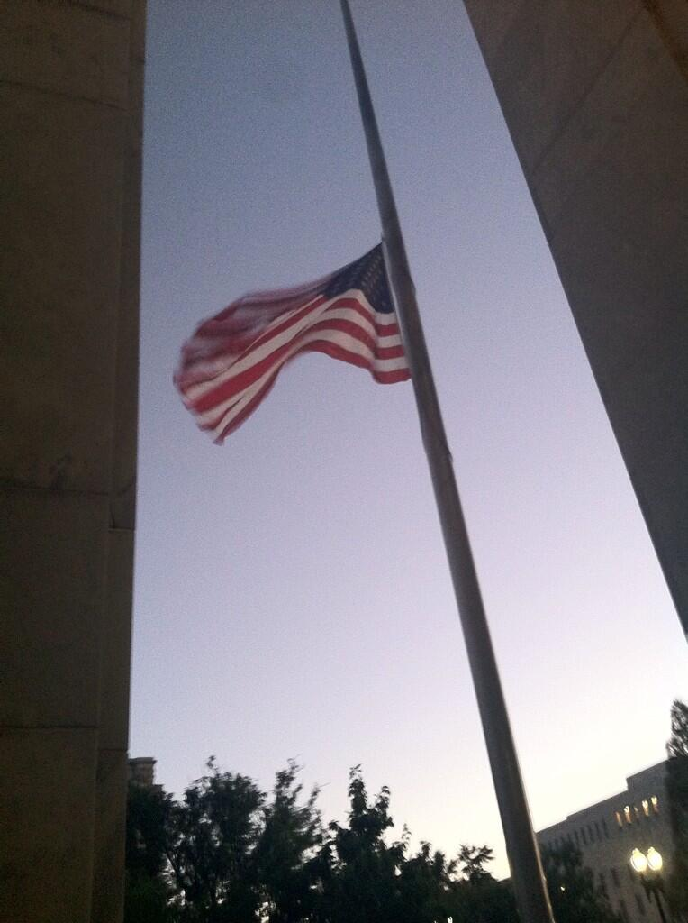 U.S. flag flies at half-staff at the Madison Building of the Library of Congress, September 17, 2013. Photo from  ‏@GayleOsterberg