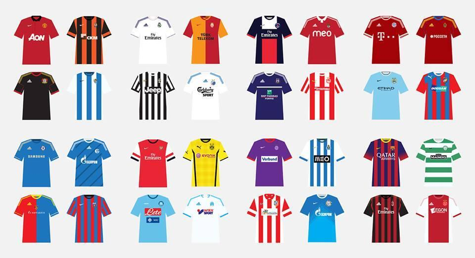 Graphic: Shirts of all the 32 Champions League teams