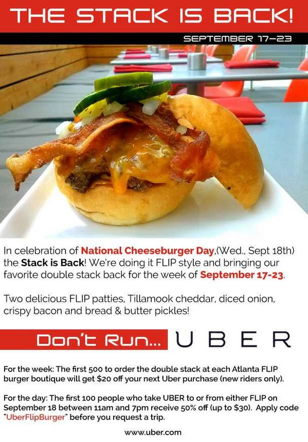 Did u hear @flipburger has partnered w/ Uber 4 National Cheeseburger day for a whole week starting 2day. Deets here: http://t.co/KEfO9hlOBb
