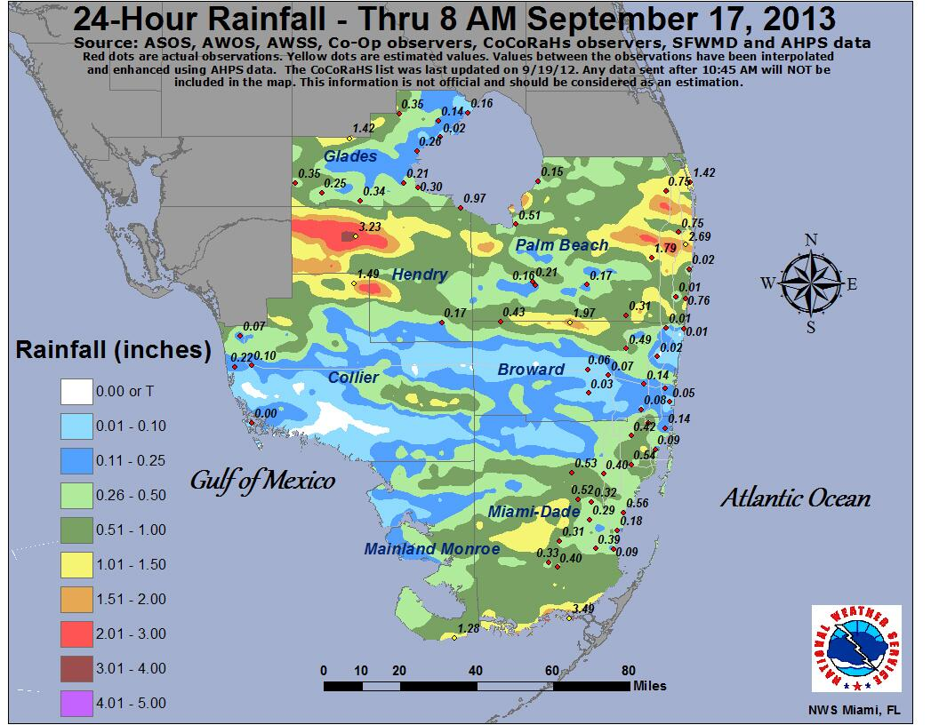 """nws miami on twitter: """"a look at the 24 hour rainfall map"""