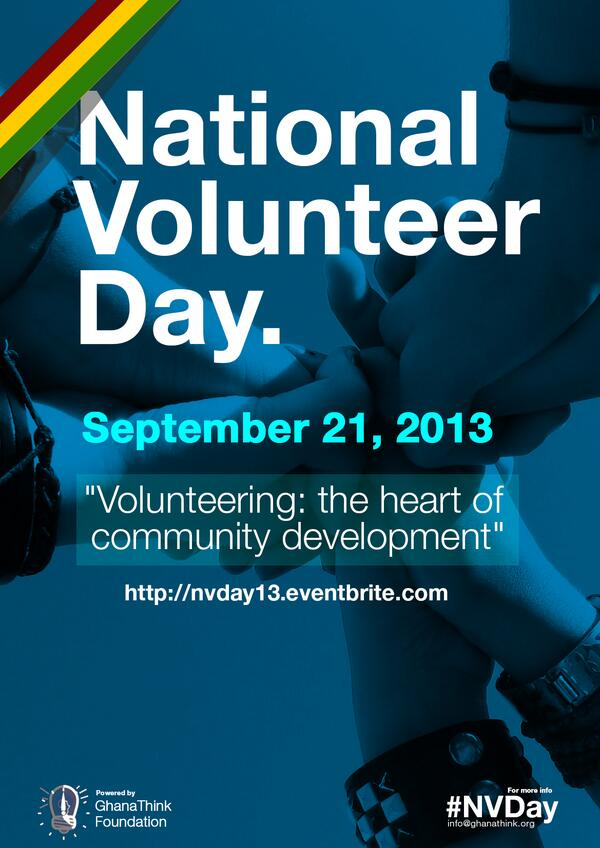 In the US, they have MLK Day of National Service, in Ghana, we have National Volunteer Day on Sep. 21. #NVday http://twitter.com/Kwabena/status/380038339757613056/photo/1