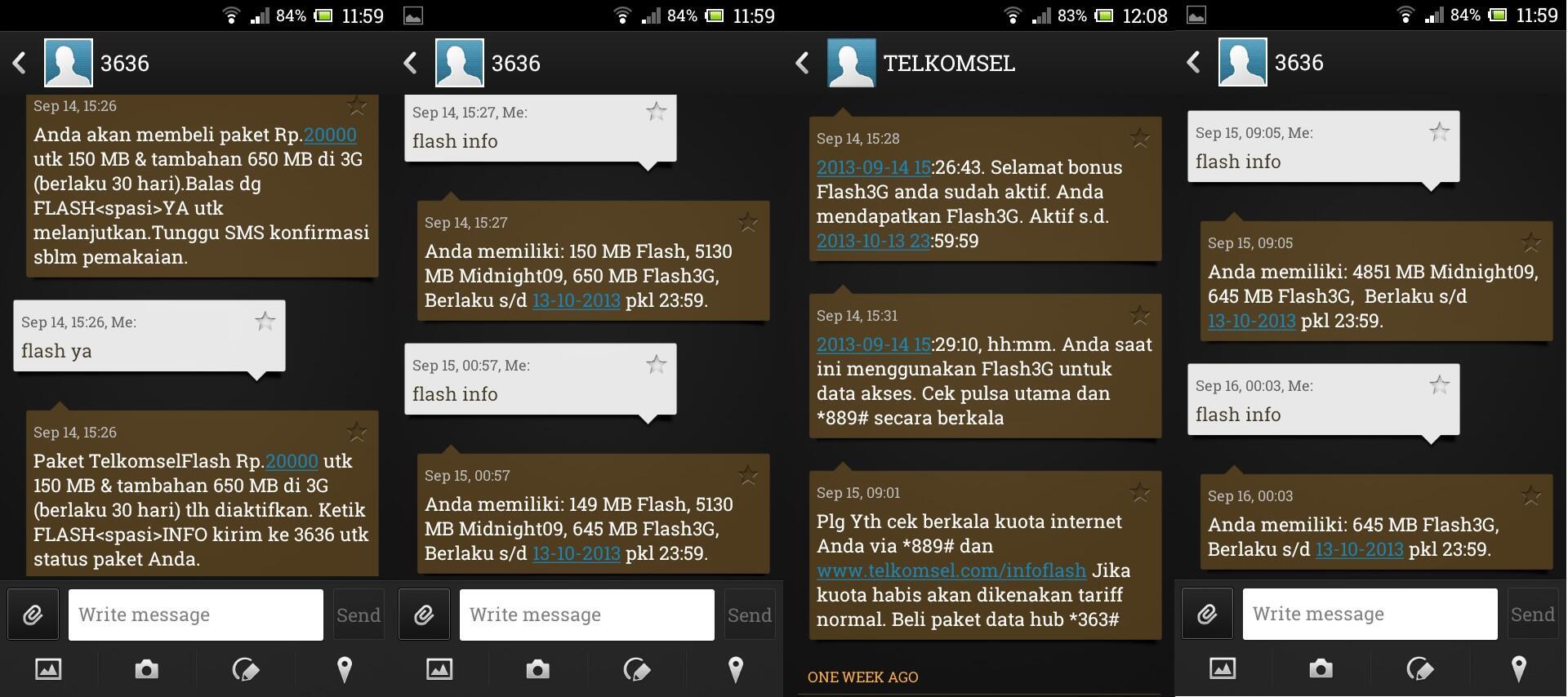 Screenshot sms dari 3636 dan atau Telkomsel