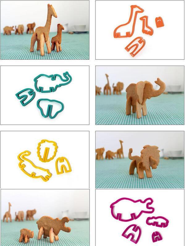 動物を組み立てられる3D動物クッキー型 (via http://suck.uk.com/products/safar)
