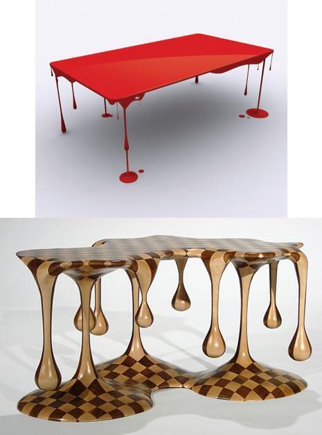 溶けて液ダレしたような2つのテーブル