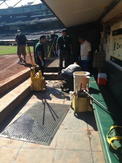 More sewage issues in the A's dugout before today's game (image via @RaelEnteenCSN) tw.nbcsports.com/wJN http://twitter.com/NBCSports/status/380411484192272384/photo/1