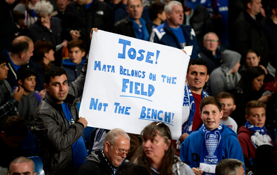 Chelsea fans hold polite banner telling Jose Mourinho that Juan Mata belongs on the field