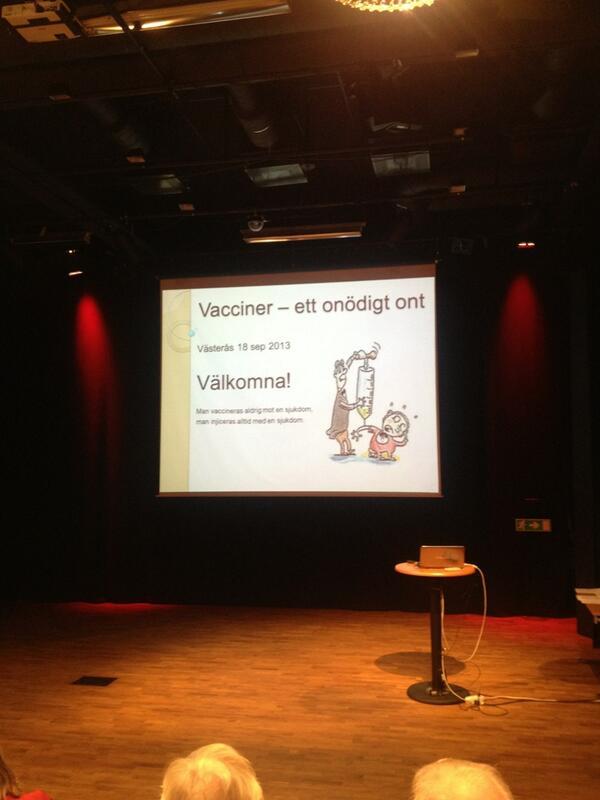 """Börjar bra: """"man vaccineras aldrig mot en sjukdom, man vaccineras alltid med en sjukdom"""" #sweskep http://twitter.com/cj_akerberg/status/380367992803966976/photo/1"""