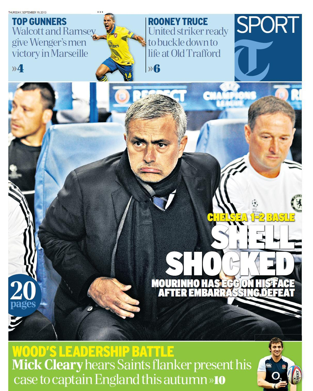 Egg On His Face: Unnamed Daily Telegraph photographer gets epic tragicomic snap of Mourinho during Basel defeat
