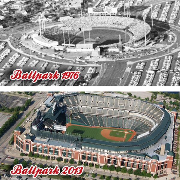 #ThrowbackThursday Arlington's first pro ballpark (Turnpike Stadium) compared to today's @Rangers Ballpark: http://t.co/EYh7ikLsuQ