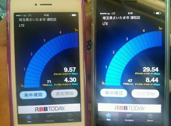 新旧au iPhoneのLTE速度比較速報。三回試しましたが、同じくLTEを掴んでいても、圧倒的な差です。これが800MHz帯の威力!? #asciiplus