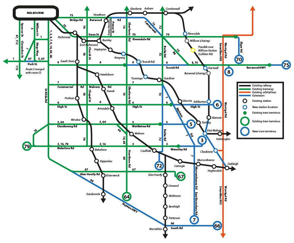 Yarra Trams Forward thinking Melbournes tram map of the future