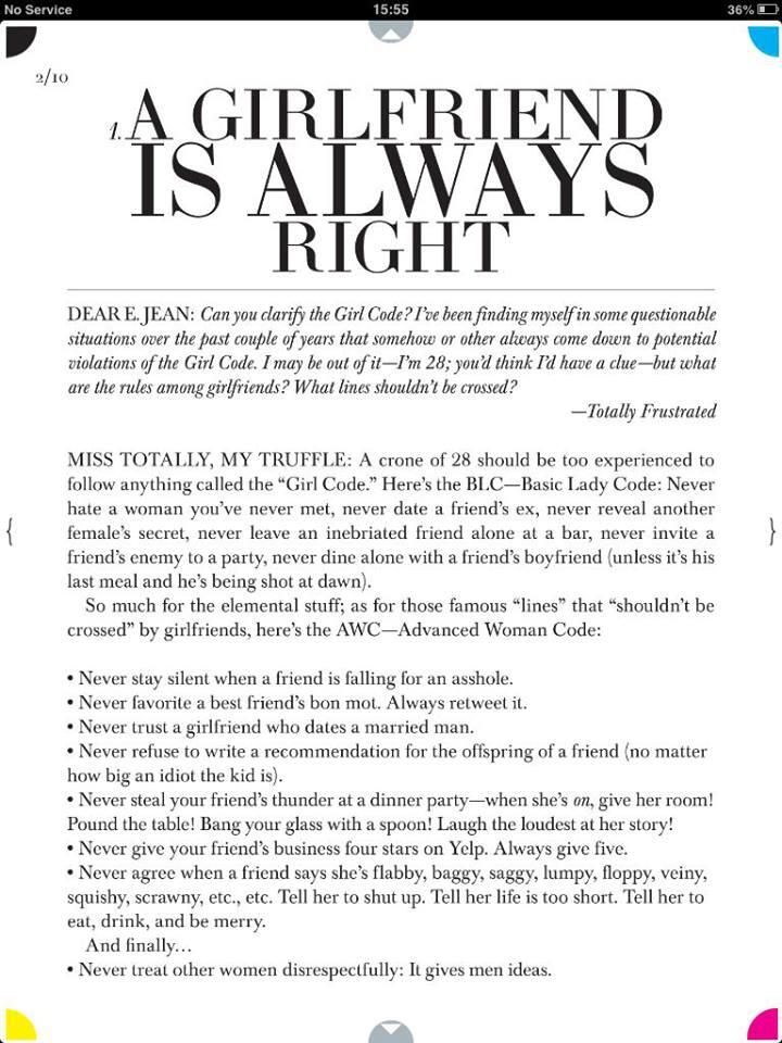 Love it!The Advanced Woman Code. Better than Girl Code. (courtesy of @ELLEmagazine) http://t.co/U8741lTcHm""