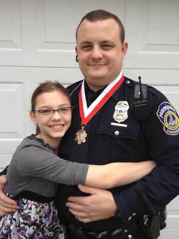 Officer #RodBradway was just awarded IMPD's Medal of Bravery. Here he is with his daughter. :-( http://twitter.com/heycori/status/381023086025273344/photo/1