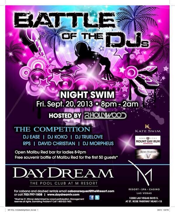 @daydreampool dj battle 8p tonight with @ImDJHollywood @beatclan legggooooo! http://t.co/H0ZSaRCdg1