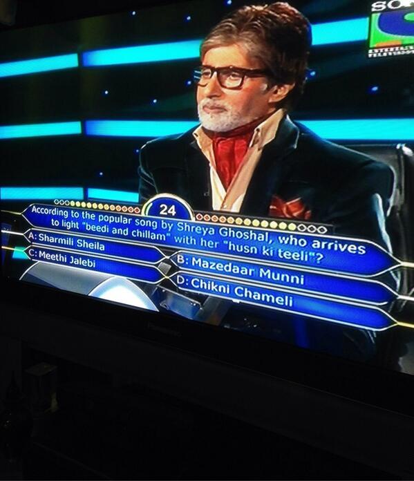 That amazing moment when you hear @shreyaghoshal 's name ❤ #KBC @SrBachchan @shreyaghoshal http://t.co/91UaCHLm93