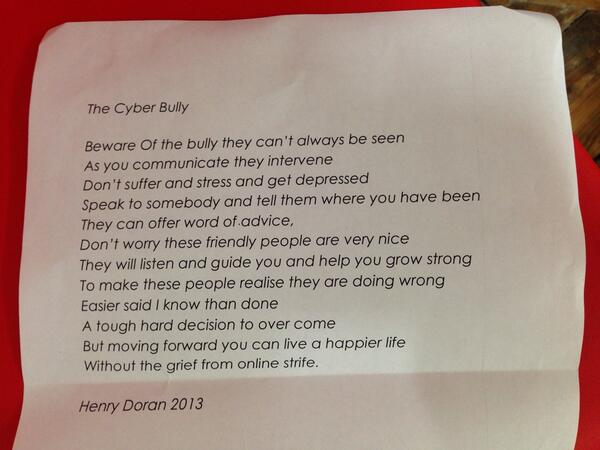 Bullying pro on twitter quot quot the cyber bully quot poem our new youth board