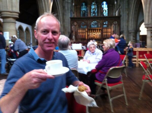 Open day Castle Hill Cambridge. Coffee and brass band in St Giles church. http://twitter.com/Gough_Janet/status/381373652416987137/photo/1