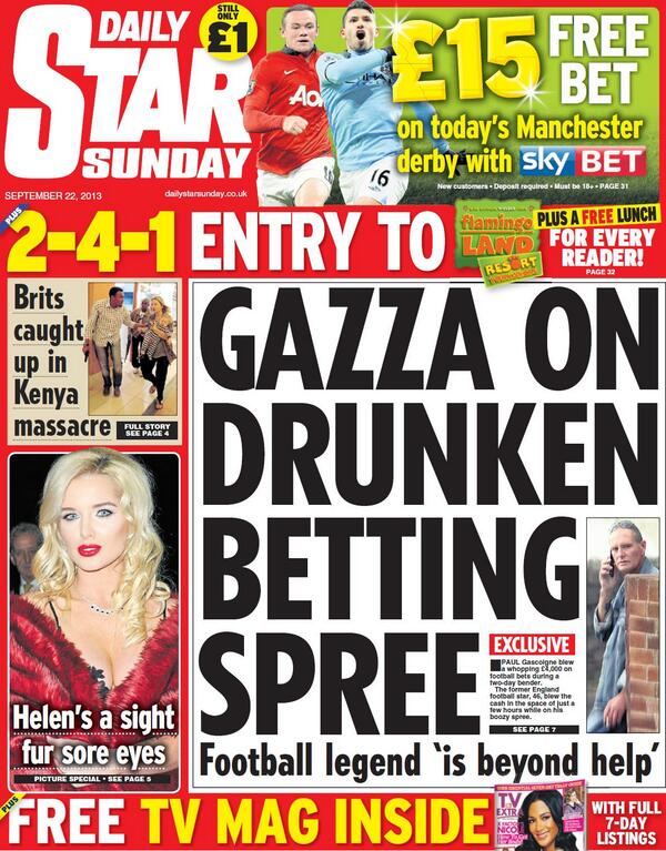 "Daily Star on Sunday front page - ""Exclusive: Gazza on ... Daily Star"