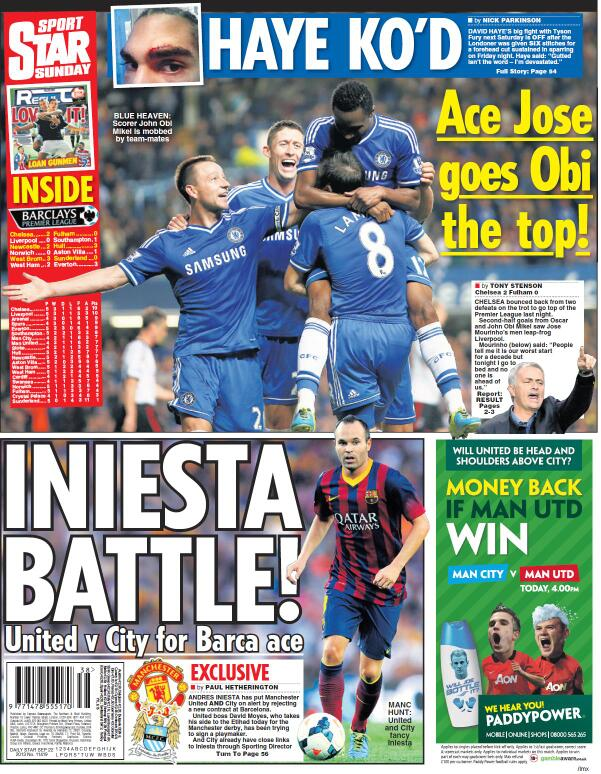 Man United & Man City target Iniesta after he rejects Barcelona contract [Sunday Star]