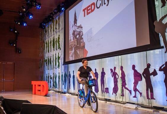Impromptu @citibikenyc ride across the #TEDCity2 stage yesterday. #livingthedream http://twitter.com/johncary/status/381491279994949632/photo/1