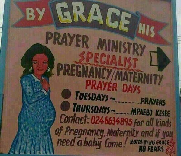 Prayer for pregnancy & prayer for wanting a baby are 2 different things? RT @jyfrimpong: A hospital or a prayer camp? http://t.co/EhxertzSdL