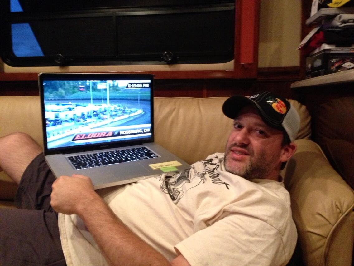 Tony getting ready to watch some dirt racing live from Eldora online.