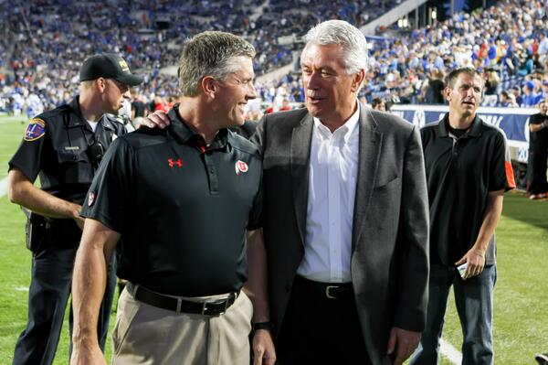 President Uchtdorf with Kyle Whittingham.