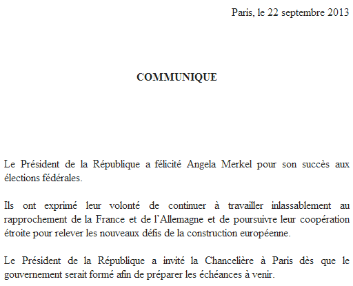 François Hollande a félicité Angela Merkel pour son succès et l'a invitée à Paris pour préparer les échéances à venir http://twitter.com/Elysee/status/381834856058994689/photo/1