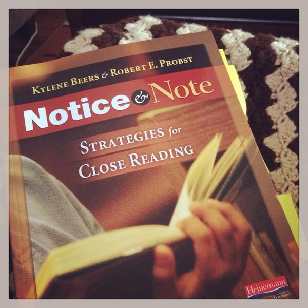 Reading #noticeandnote and can't put it down. In my top 3 professional books read to date. Must read. @KyleneBeers http://t.co/bZENebia7a