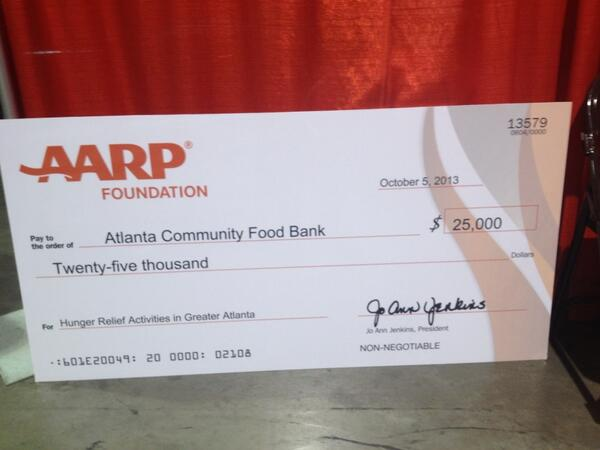 Atlanta food bank receives a 25k check from @aarp foundation today to help feed hungry seniors. #lifeat50 http://twitter.com/larrygannon/status/386516781239500800/photo/1