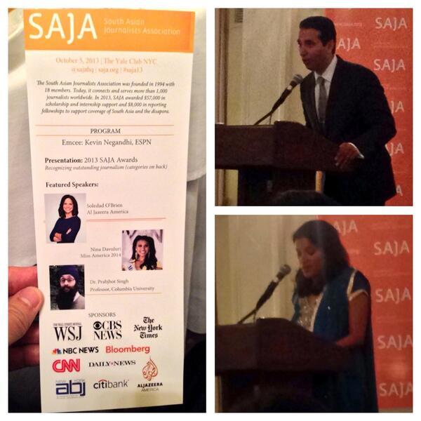 19th Annual @sajahq Gala: @KNegandhiESPN emcees, @subratadenbc kicks off awards, @MissAmerica @Soledad_OBrien next http://twitter.com/RichardLui/status/386627253431721984/photo/1