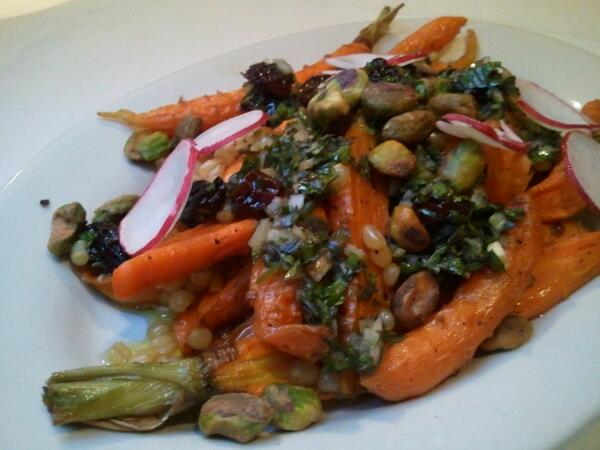 Oh, these carrots! Dried grape salsa verde, radish, pistachio, wheat berries. @ewschultz @AgritopiaFarm @FnBAZ http://t.co/Nkths8LMFc