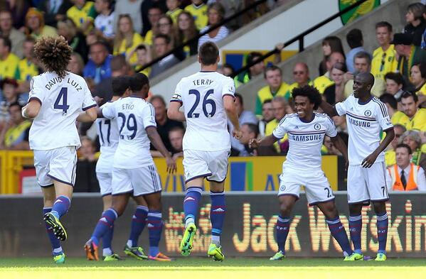 Chelsea fans sing the Willian song (He hates Tottenham!) after goal at Norwich [video]