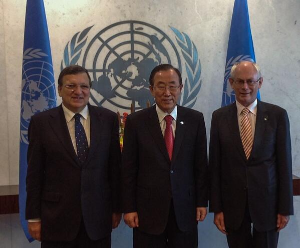 #UNSG & @BarrosoEU & @euHvR #EU @EUatUN @EU_Commission @EUCouncilPress @UN #UNGA http://twitter.com/UN_Spokesperson/status/382882314818056192/photo/1